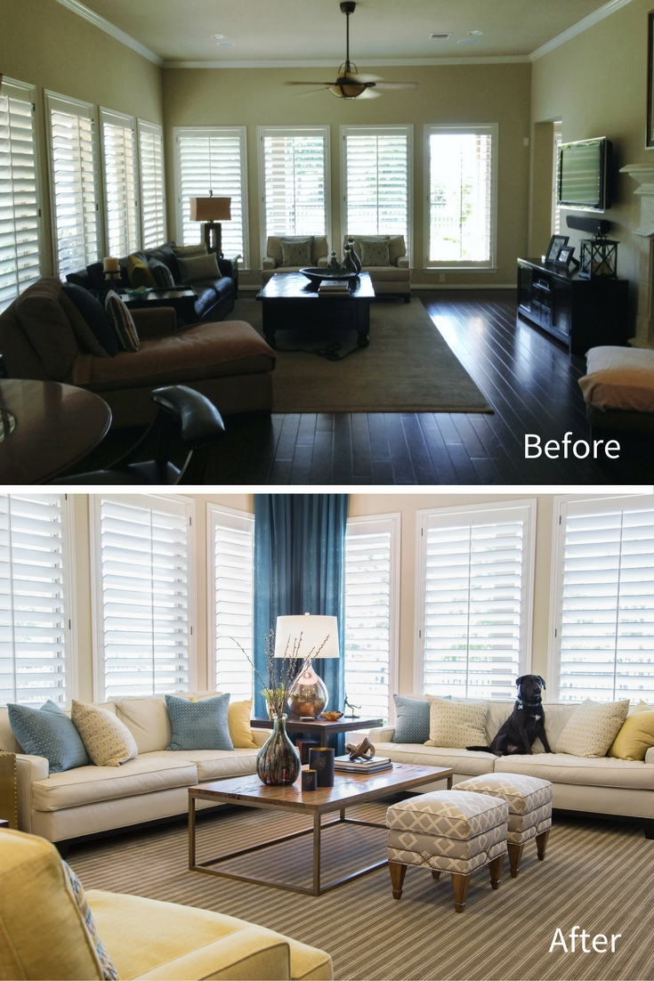 Before and After | Living Room and Kitchen Remodel, Designer: Carla Aston