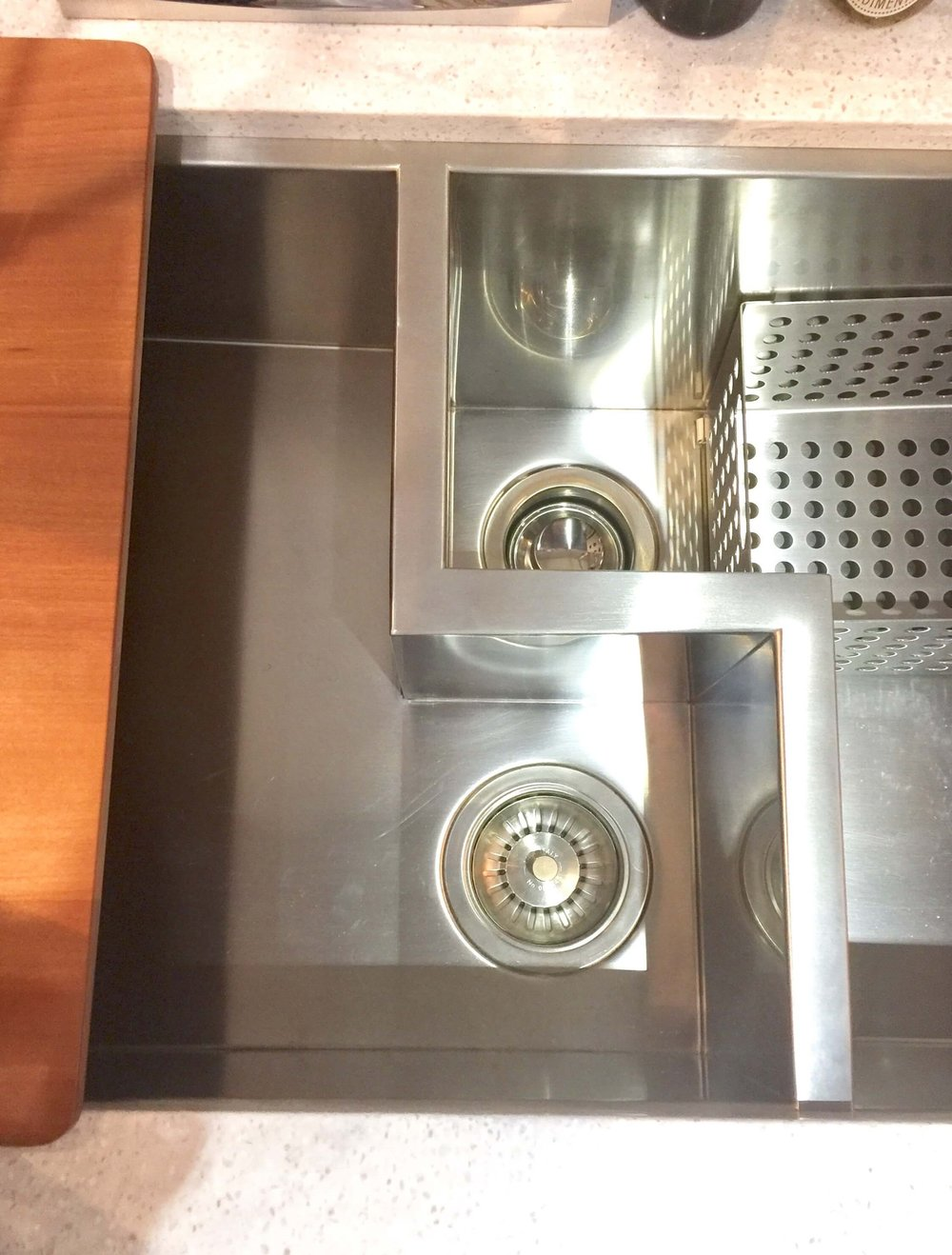 Rohl extra wide prototype stainless sink with centered drains