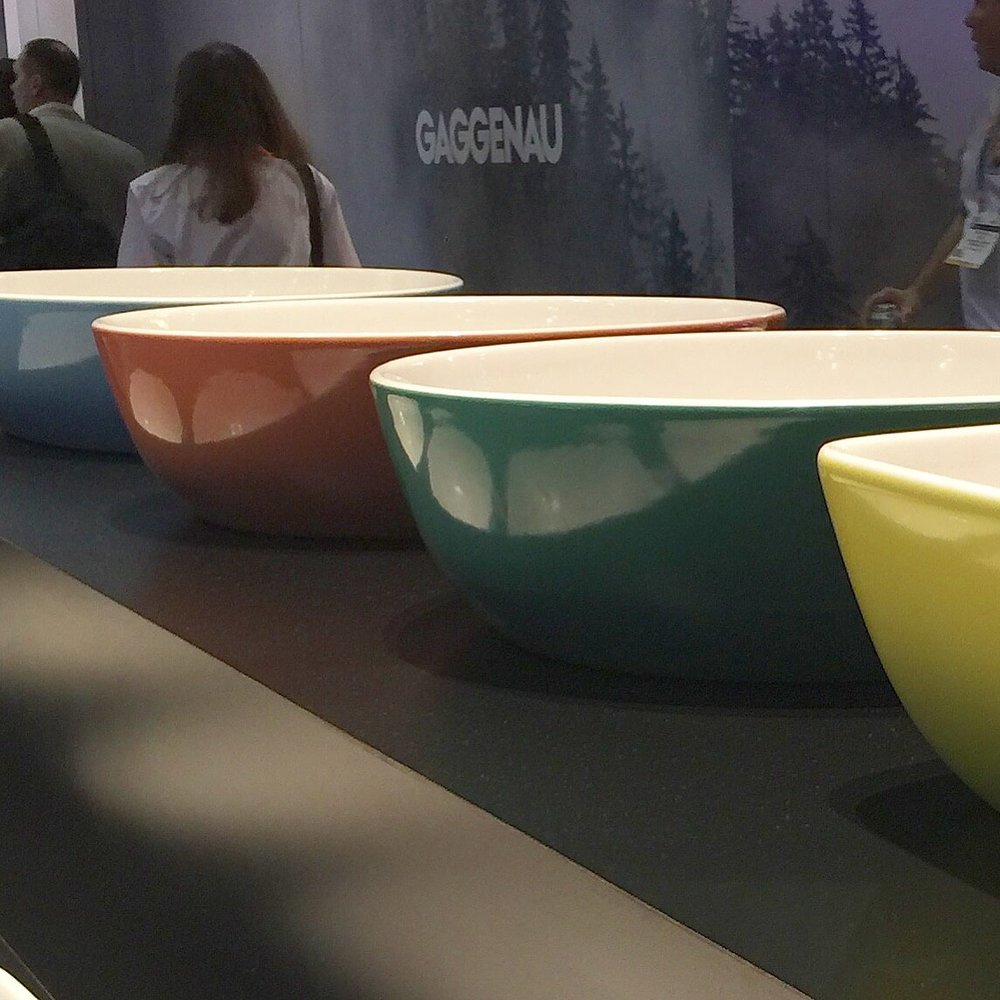 These colorful sinks from Villeroy and Boch will be used in some  bathroom designs this next year done by some of my designer friends for the brand.  Can't wait to see what they do!
