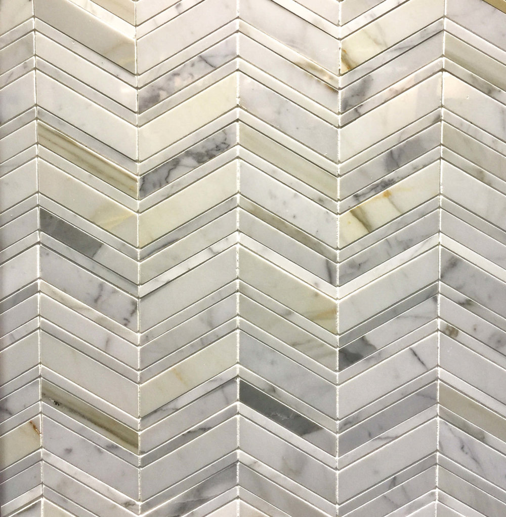 Chevron white marble mosaic from Arizona Tile