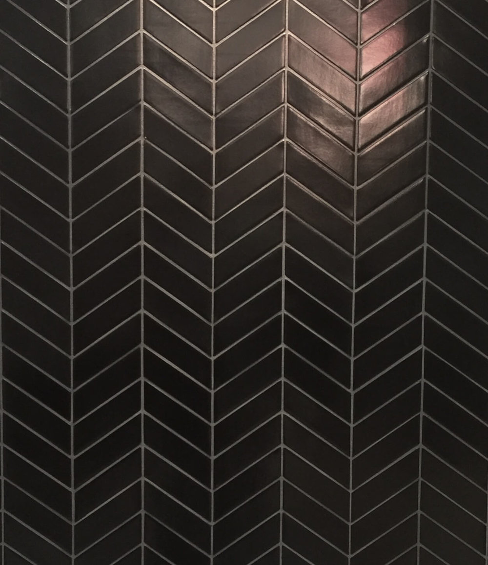 Black chevron tile from Walker Zanger