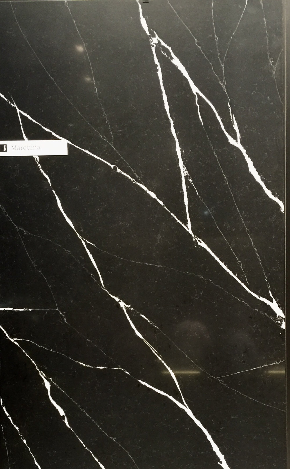 Marquina black quartz slab from Silestone