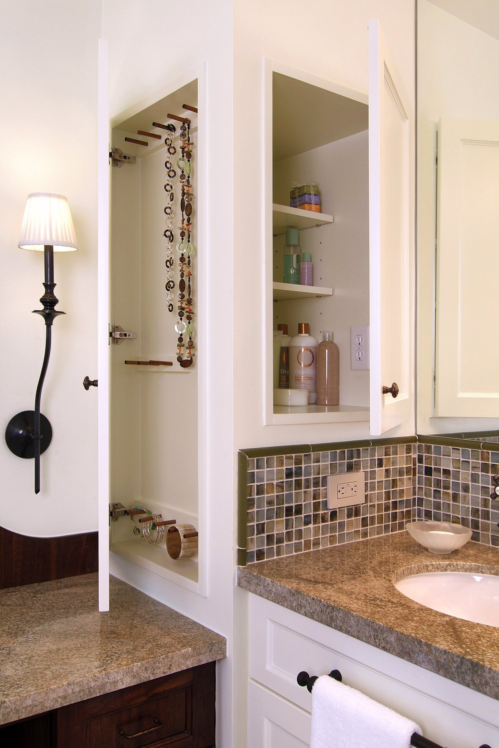 Luxury Electrical outlet inside medicine cabinet in bathroom