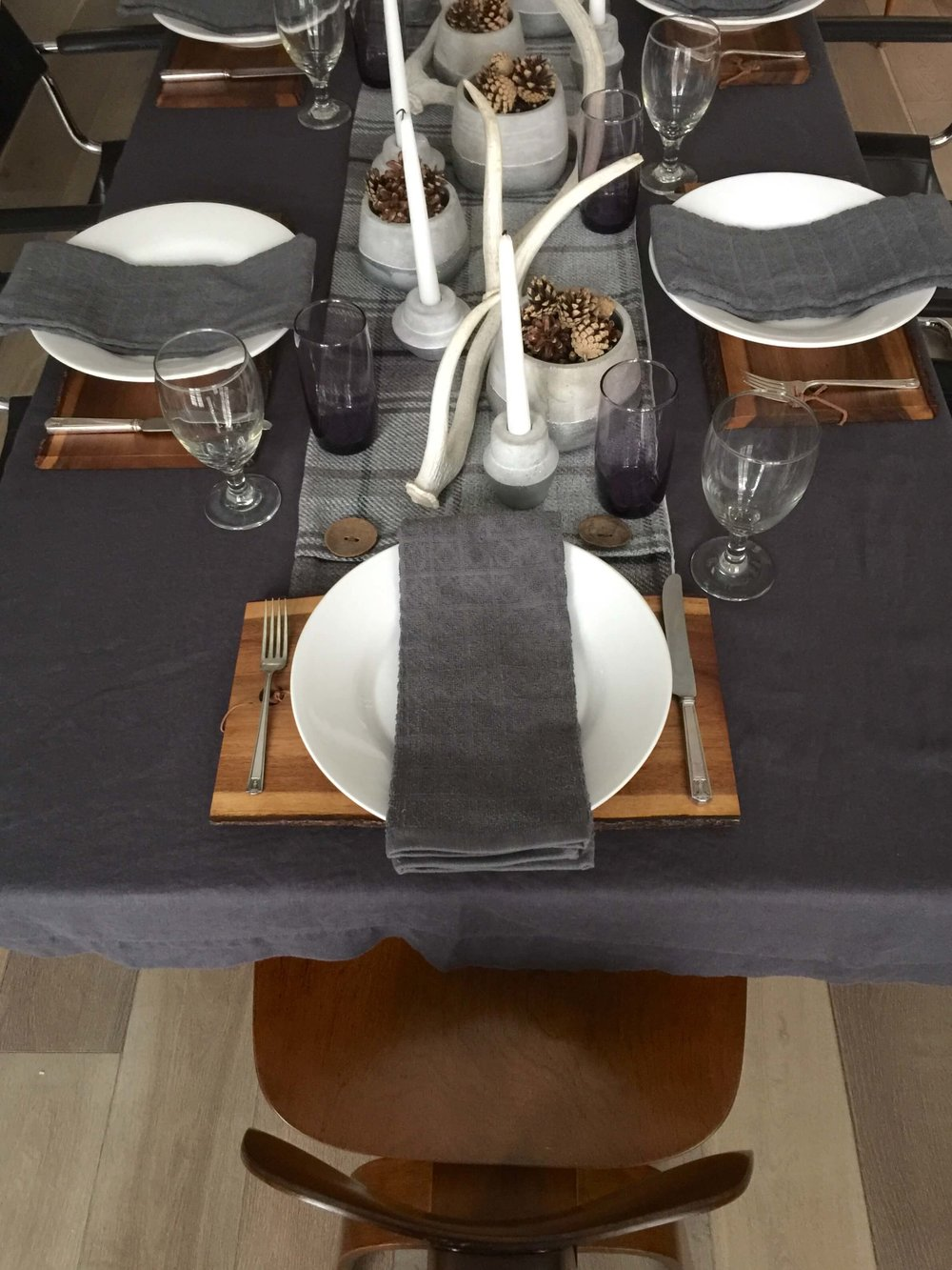 Winter tabletop decor with Eames chair | Carla Aston