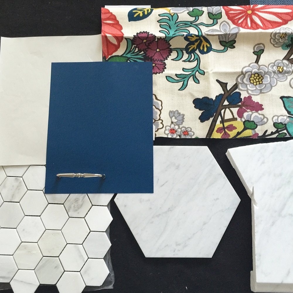 Chiang Mai fabric and Carrarra marble hex tiles