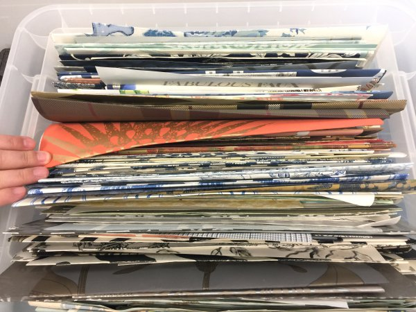 I have three boxes of favorite wallpaper samples in my studio. :-)