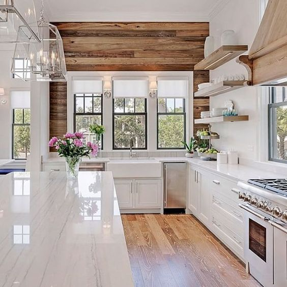 Rustic wood shiplap wall via Old Seagrove Homes