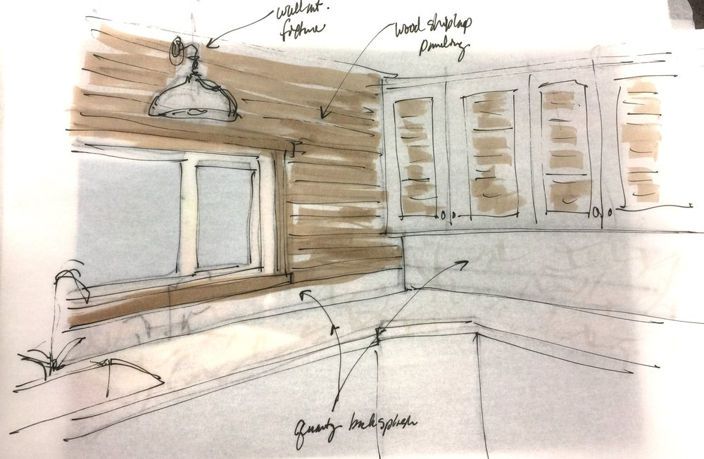 Kitchen sketch with shiplap paneling and quartz countertops