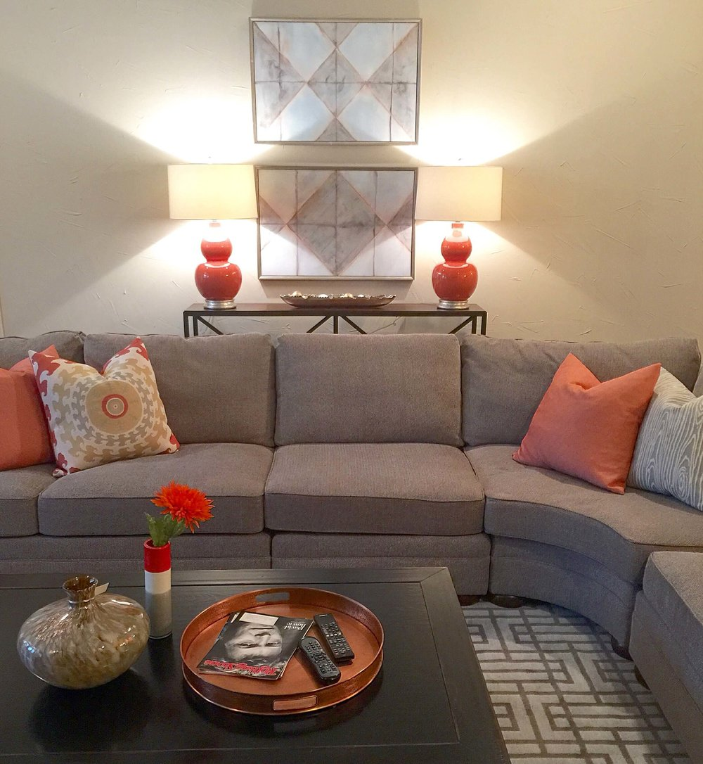 After - bright orange accents in copper, fabrics and lamps | Carla Aston Designer
