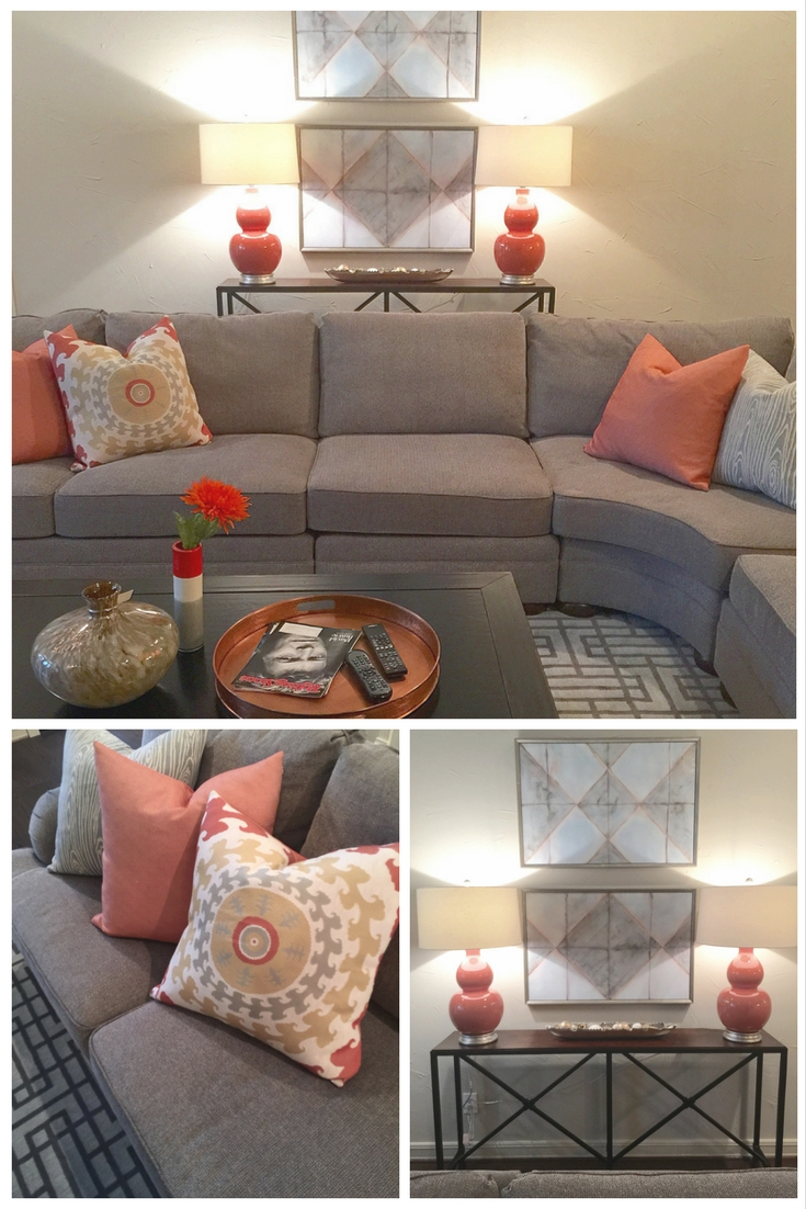 Adding a bright color to gray livens things up and gives a fresh look. Gray sectional with orange accents added in with pillows, lamps, copper tray and accessories.