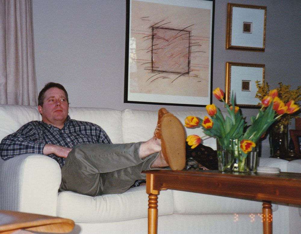 And Hereu0027s My Husband, Years Ago, With His Feet Up On It.