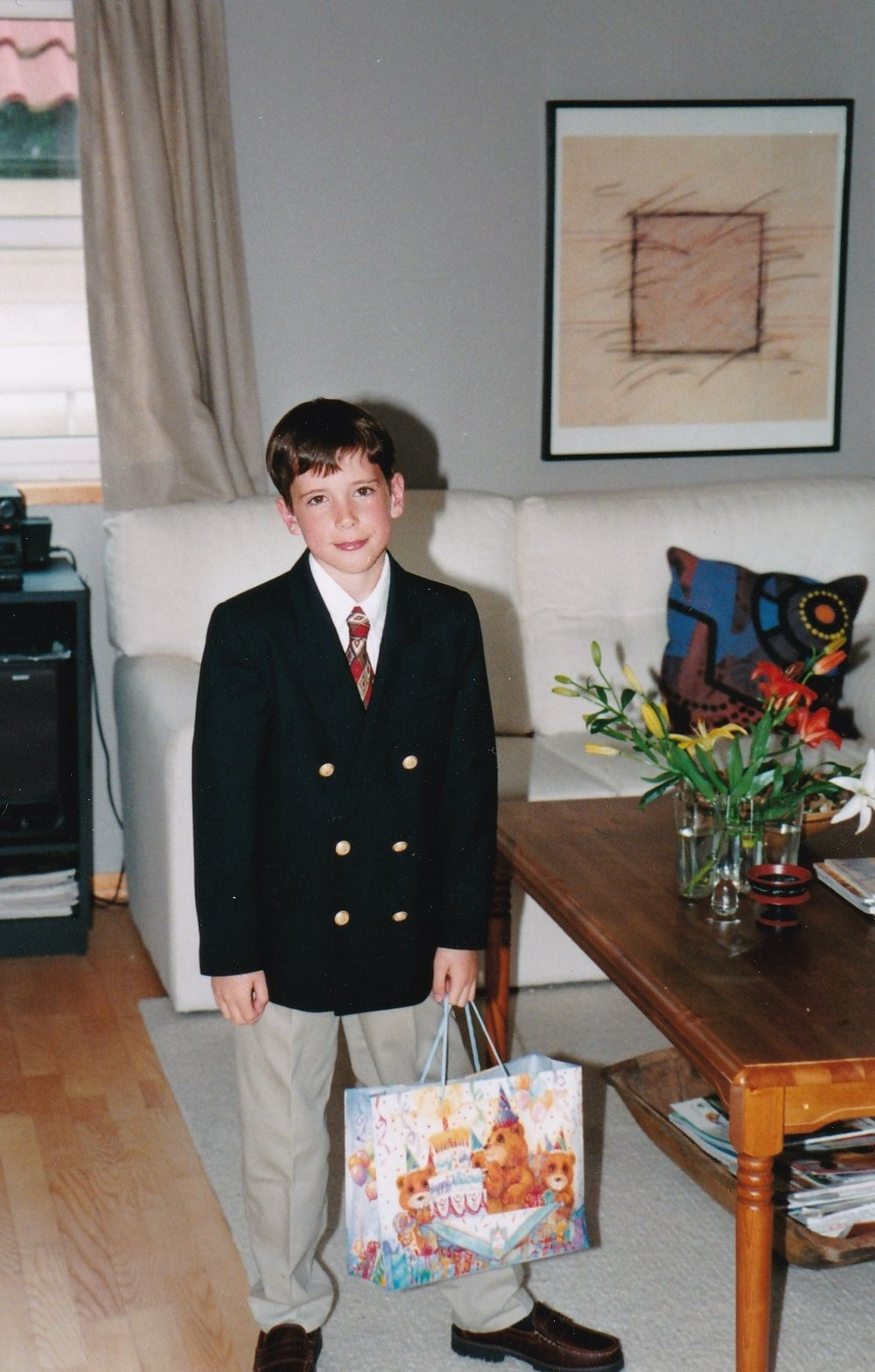 Here's my son (I know...adorable!) standing beside the taller coffee table we had in Norway. (He's now 29! :-)