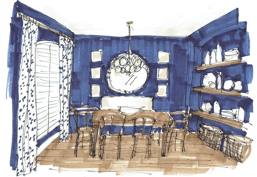 Dining Room Sketch For Edesign Project | Carla Aston, Designer