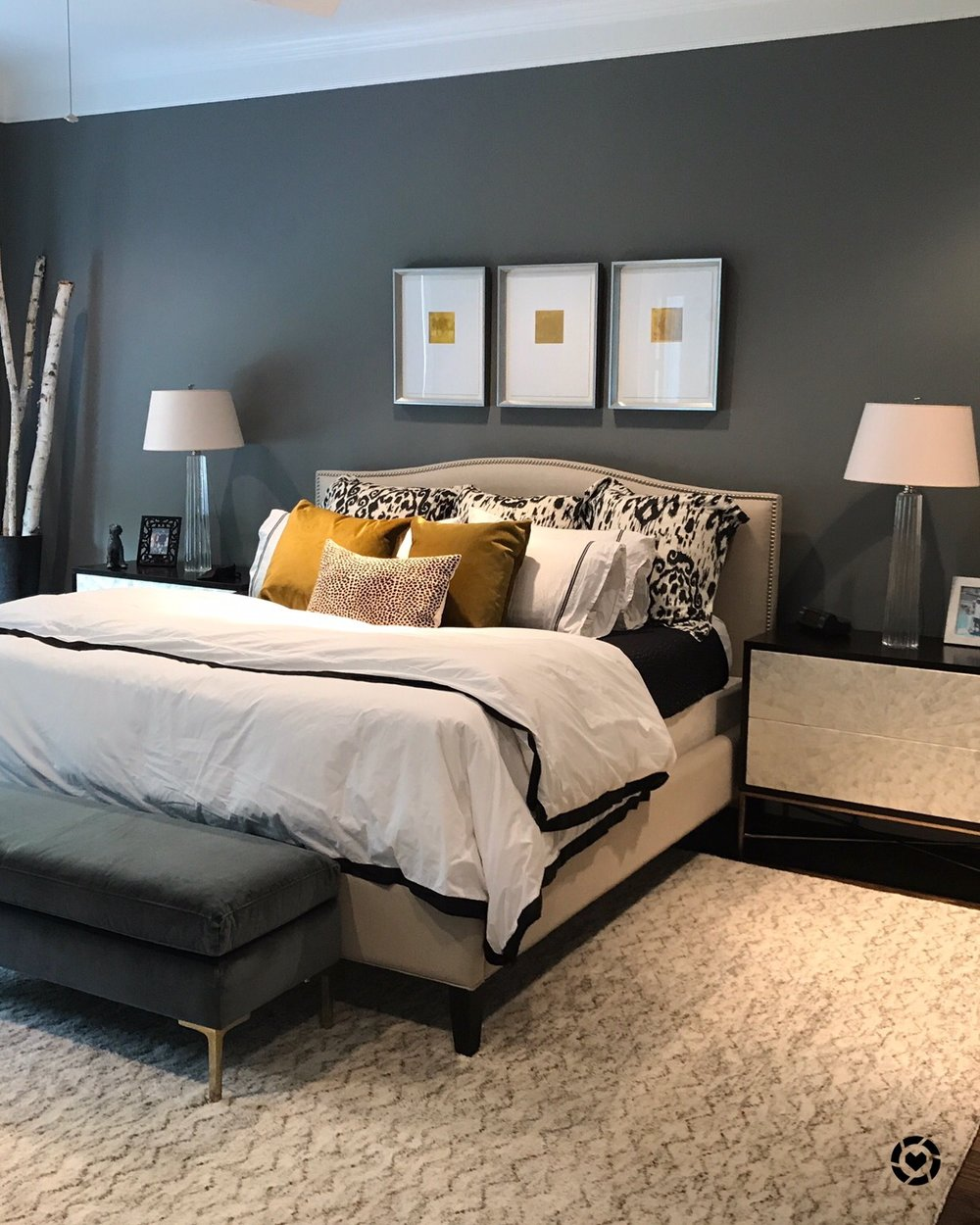 Gray and beige master bedroom | Designer Carla Aston