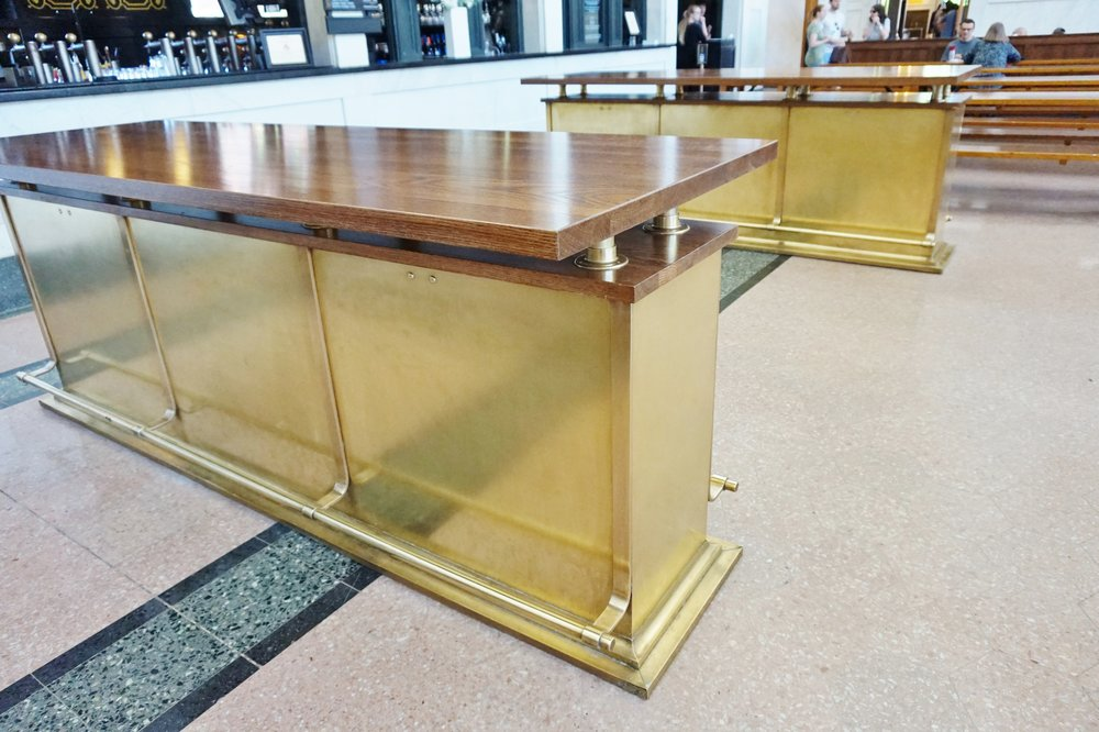 Brass bar table bases at Union Station, The Crawford Hotel, Denver