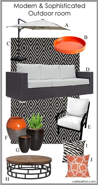 Stylish, modern backyard decor & furniture | Featuring: pillow; coffee table; planter; ceramic jar; chair + ottoman; walnut sofa; rug; tray; umbrella.