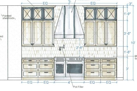 Kitchen Elevation with beehive shaped ceramic tile