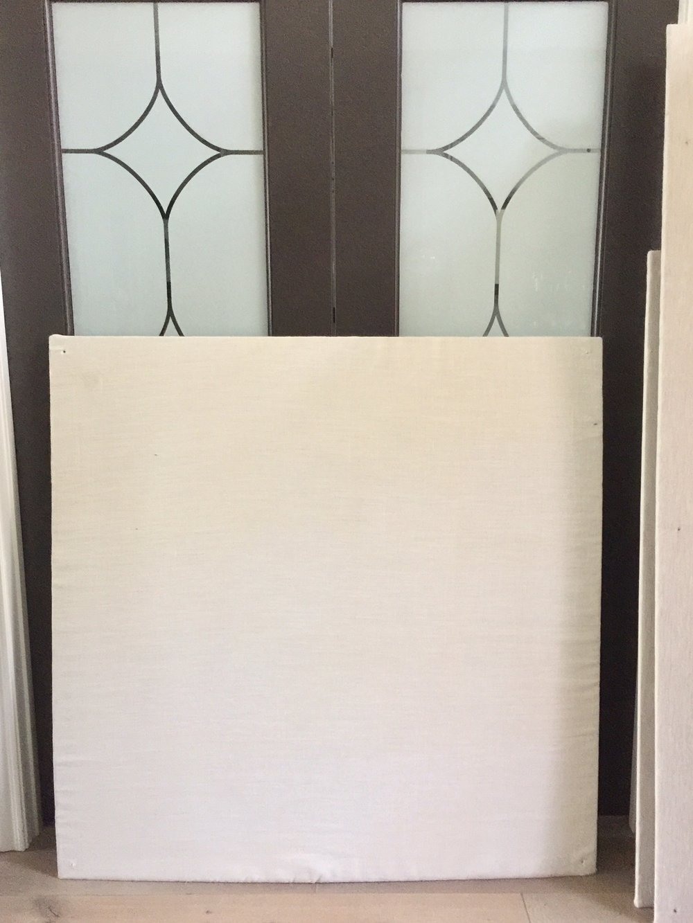 (2) 4' x 4' Off White Linen Homasote Tackboard - $20 each.