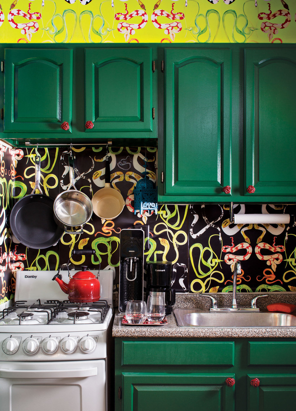 Snake print wallpaper in kitchen | Design by  George Venson  via:  The Cut