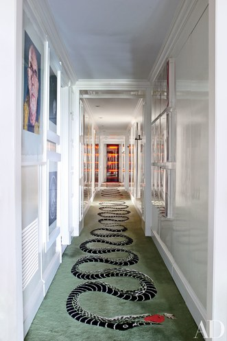 Serpent rug in home of  Richard Mishaan via Architectural Digest