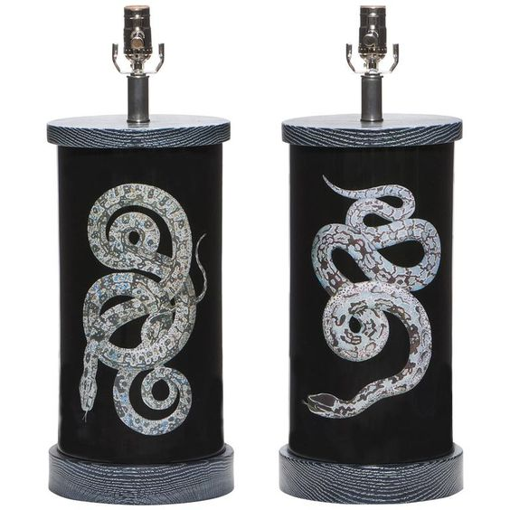 Serpent lamps by  Liz Marsh , via:  1st Dibs