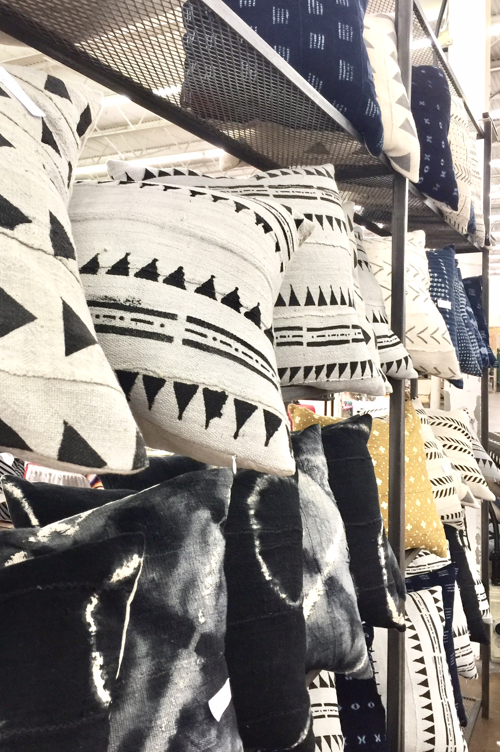 Black and white mud cloth pillows at Dallas market