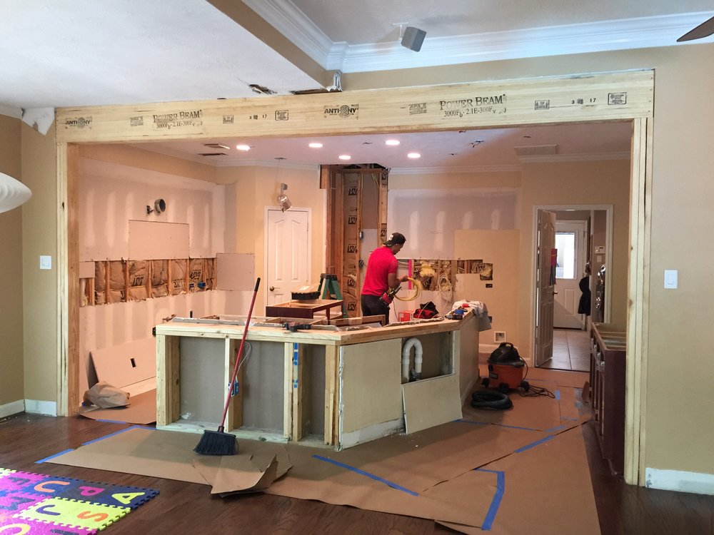 During kitchen remodel with column removed