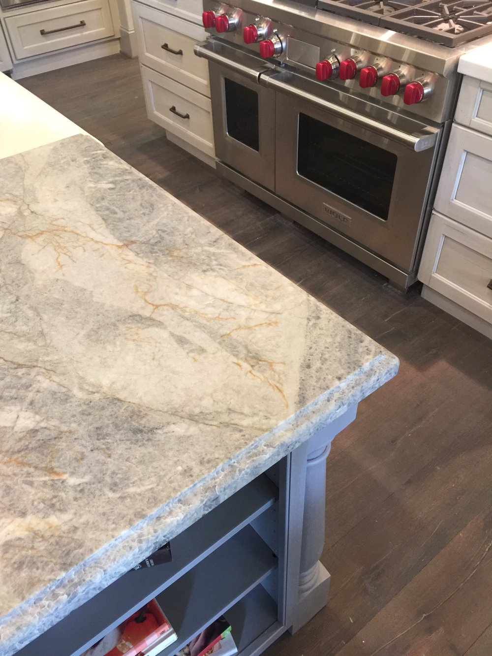 Gorgeous leather finish quartzite kitchen countertops - Designer Donna Jarnigan