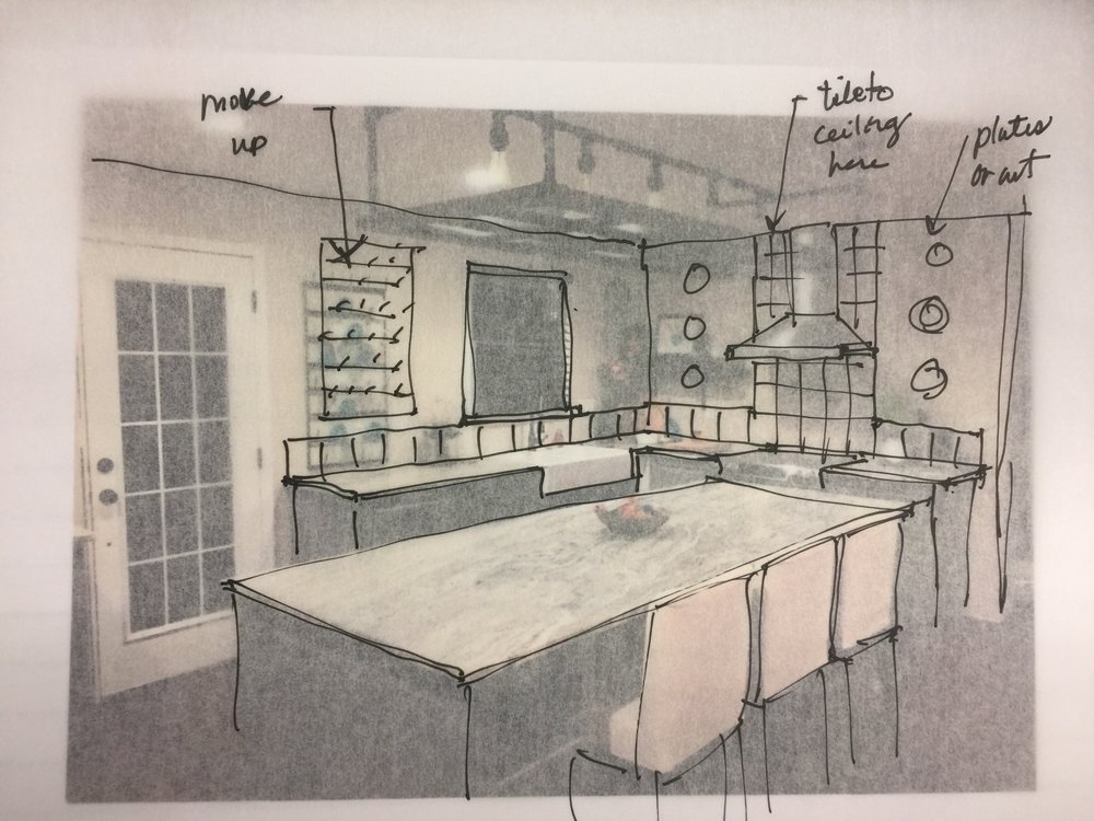 Sketch of kitchen backsplash