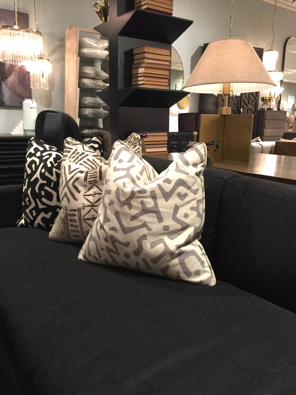 African inspired print pillows at Noir