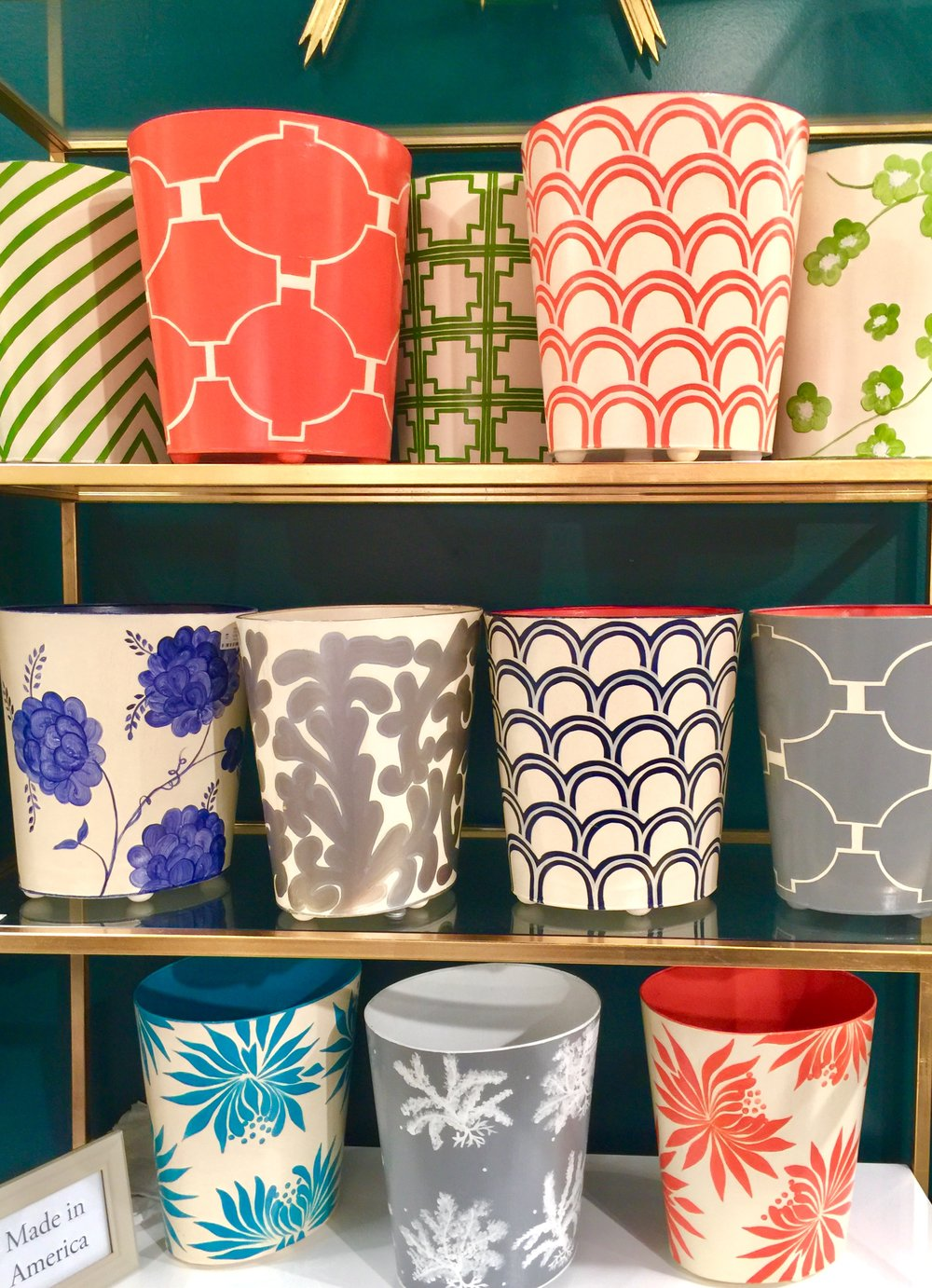 Colorful trash cans for your bathroom at Worlds Away