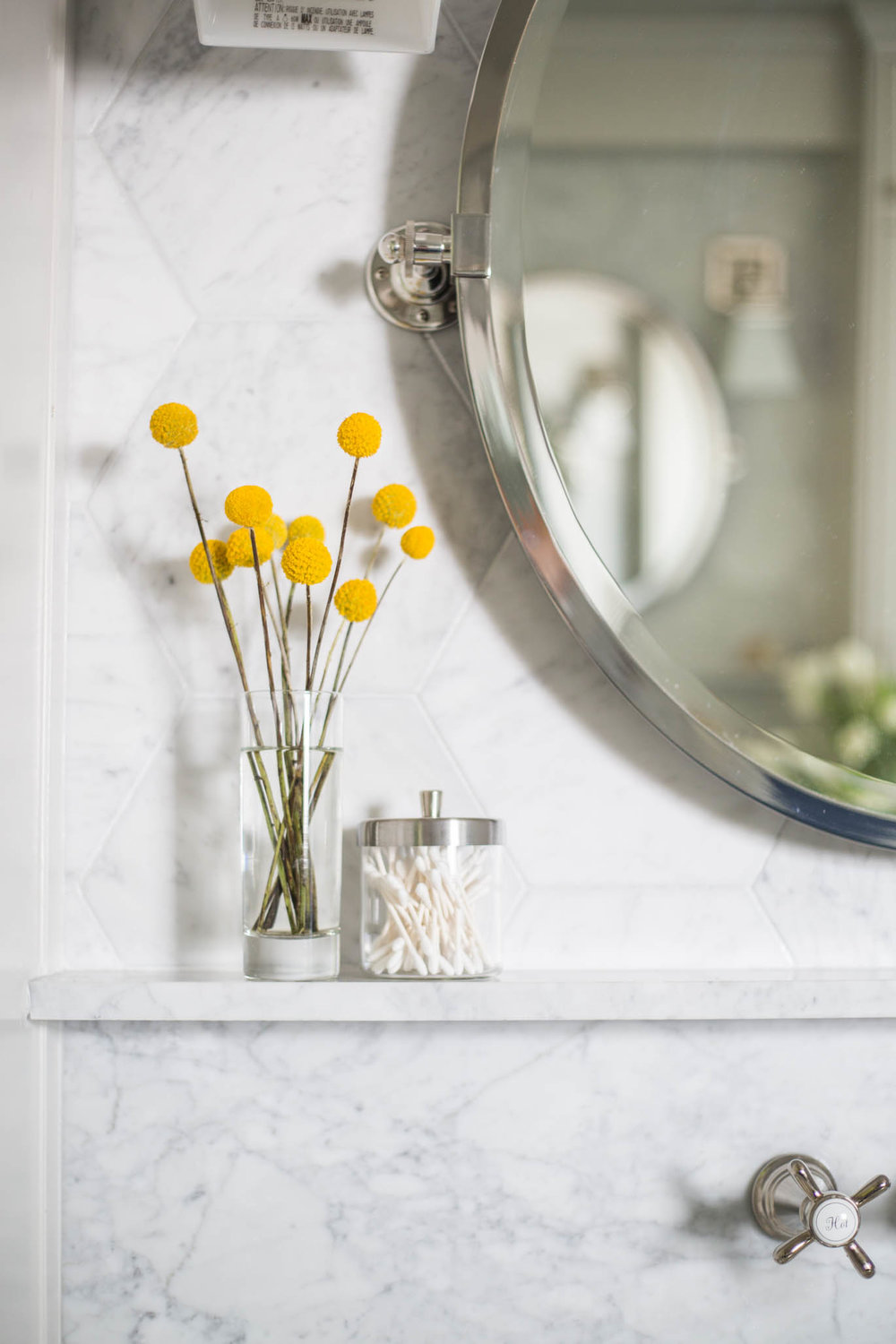 White marble bathroom vanity with ledge | Carla Aston, Designer | Tori Aston, Photographer