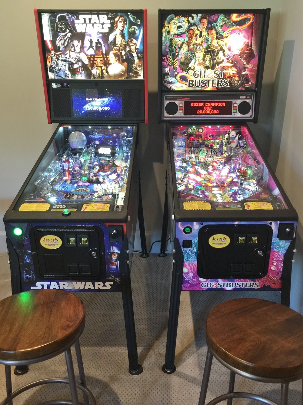 Joystix pinball machines in media game room - Southern Living Showcase Home