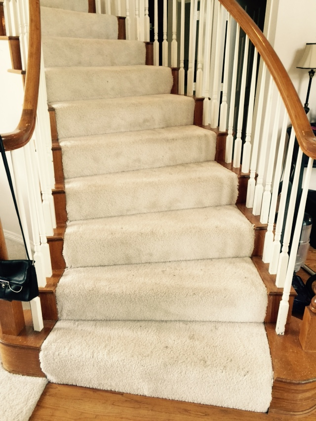 BEFORE - standard carpeting on stair