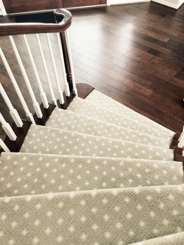 AFTER - #stair installed with patterned, low pile carpet