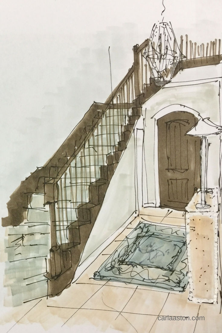 Sketch showing new carpet runner on dark wood stair - Carla Aston, Designer