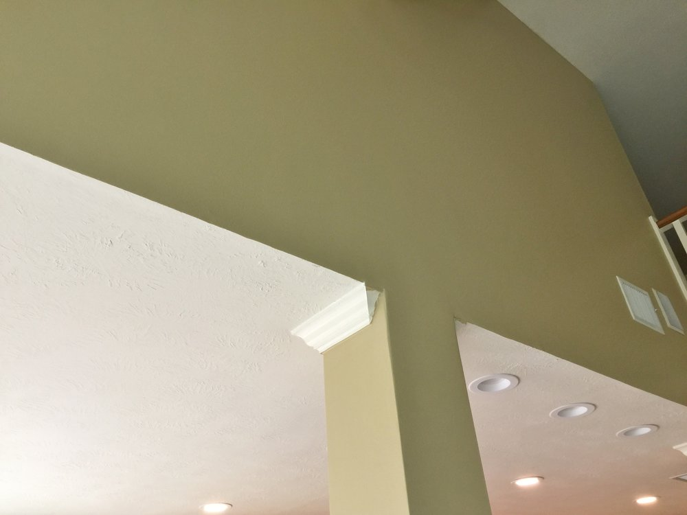 BEFORE - Awkward transition of column at ceiling