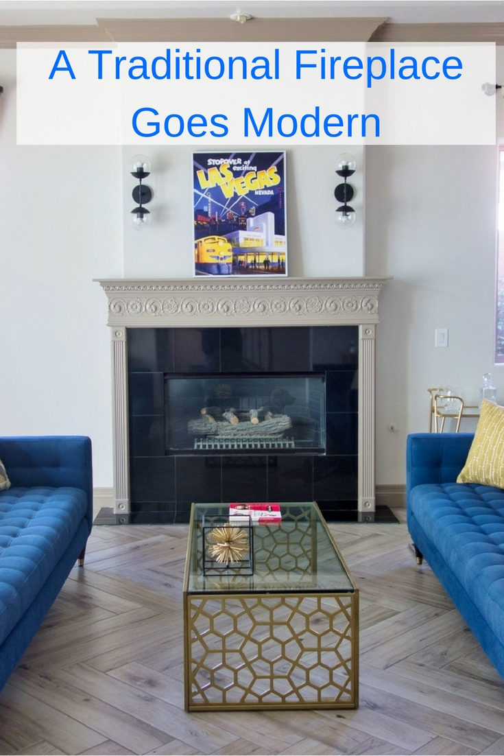 Going modern with a traditional fireplace | #modernlivingroom #livingroom #livingroomideas #fireplace #tiledfireplace