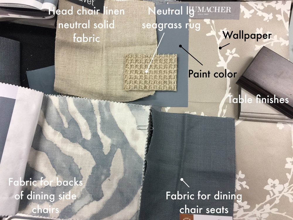 Fabric selections for dining room design scheme #diningroom #designplan