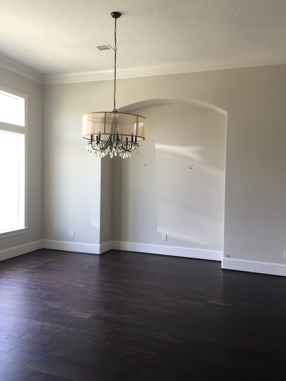 BEFORE - plain, empty space with builder chandelier