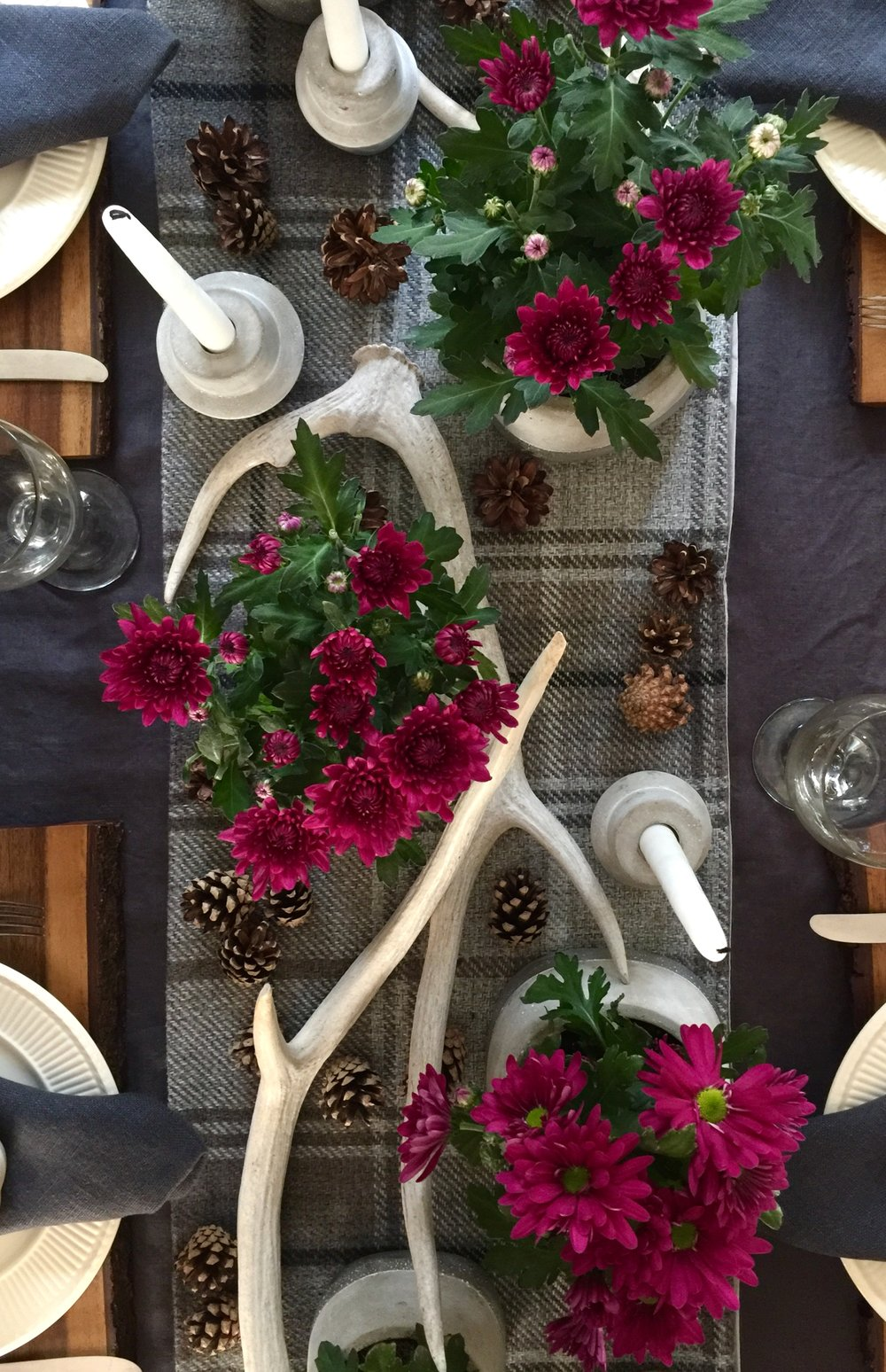 Tablesetting centerpiece with gray and magenta #antlers #pumpkins #plaid #tablesetting #centerpiece