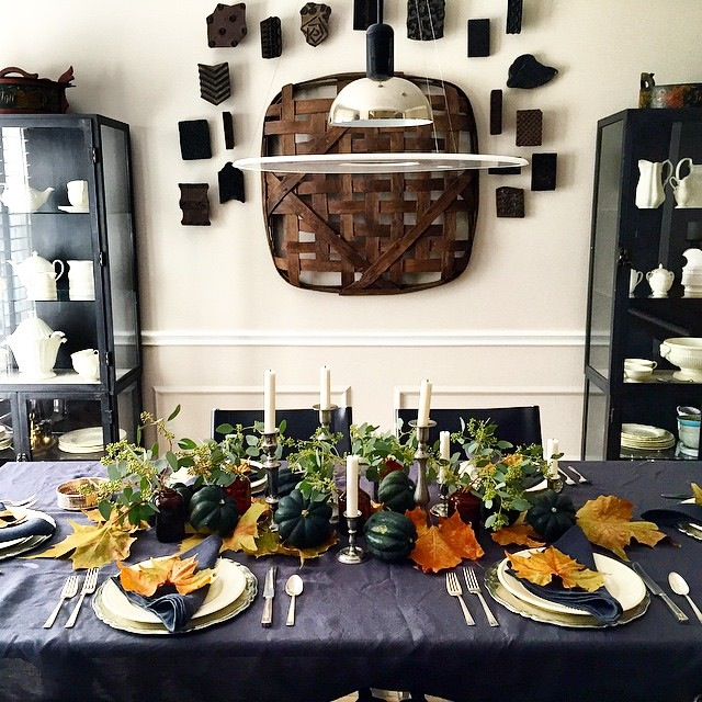 Beautiful Thanksgiving table from years ago with previous rustic wall decor