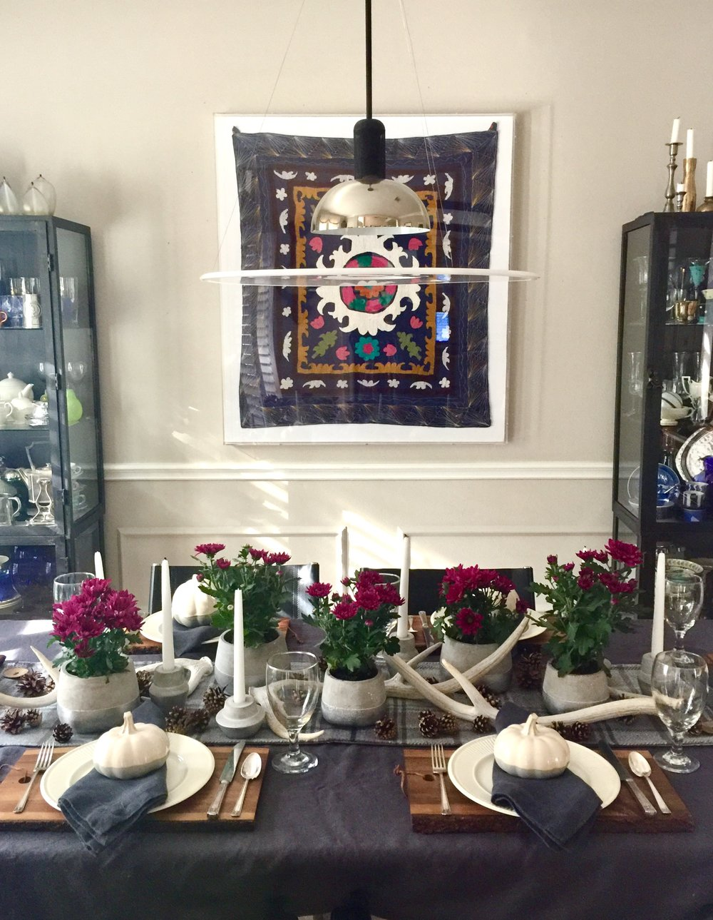 Dining room - Thanksgiving table 2017 with new textile wall decor