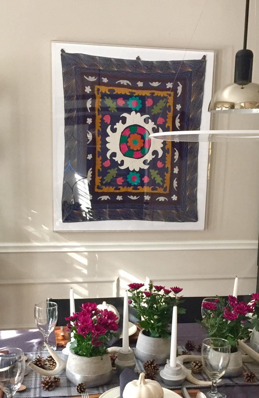 Unique New dining room wall decor Suzani textile in plexi frame