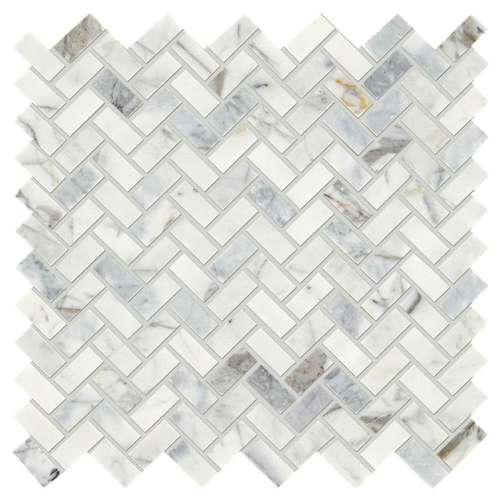 H  erringbone Marble Mosaic Tile