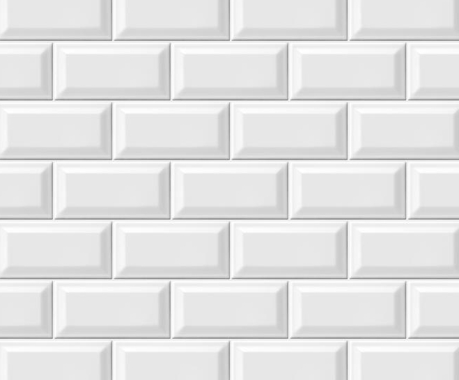 White beveled subway tile for backsplash