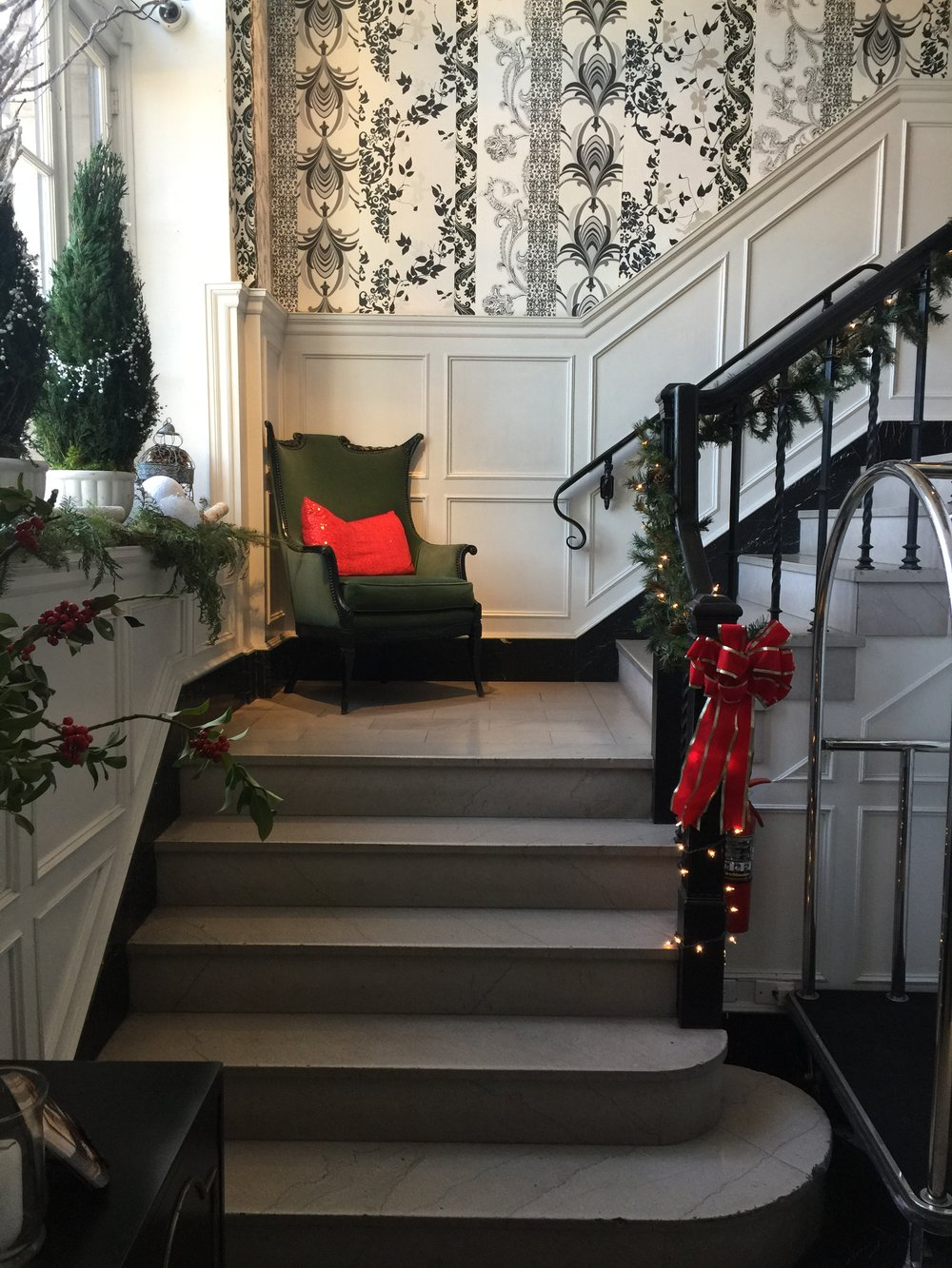 The marble stairs at The Culver Hotel, Los Angeles
