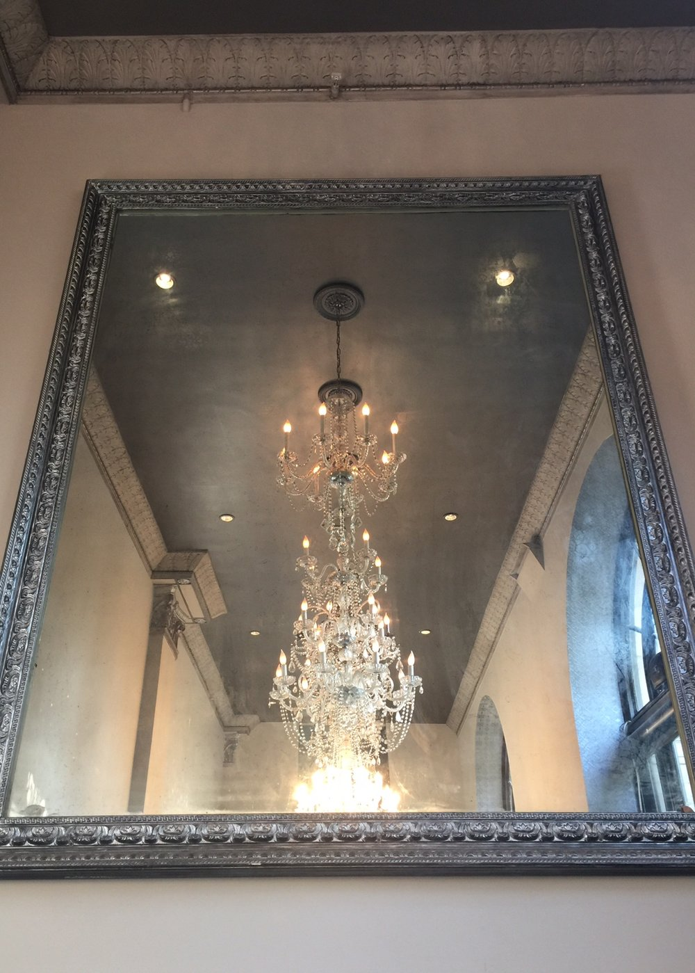 Antique mirror with chandeliers - The Culver Hotel, Los Angeles