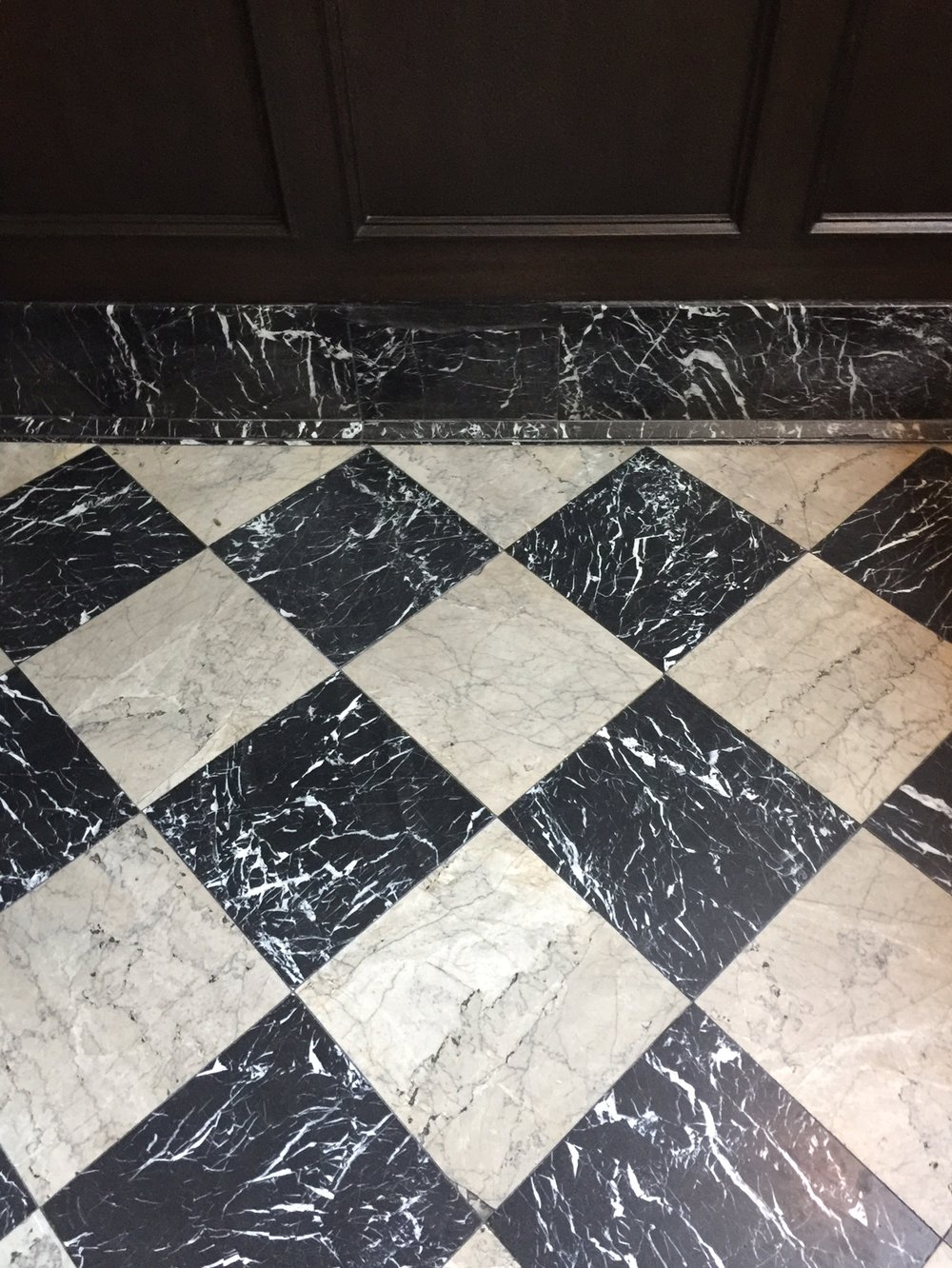 Marble checkerboard tile floors at The Culver Hotel, Los Angeles #marblefloors #checkerboardfloors #marbletilefloors #checkerboardpattern