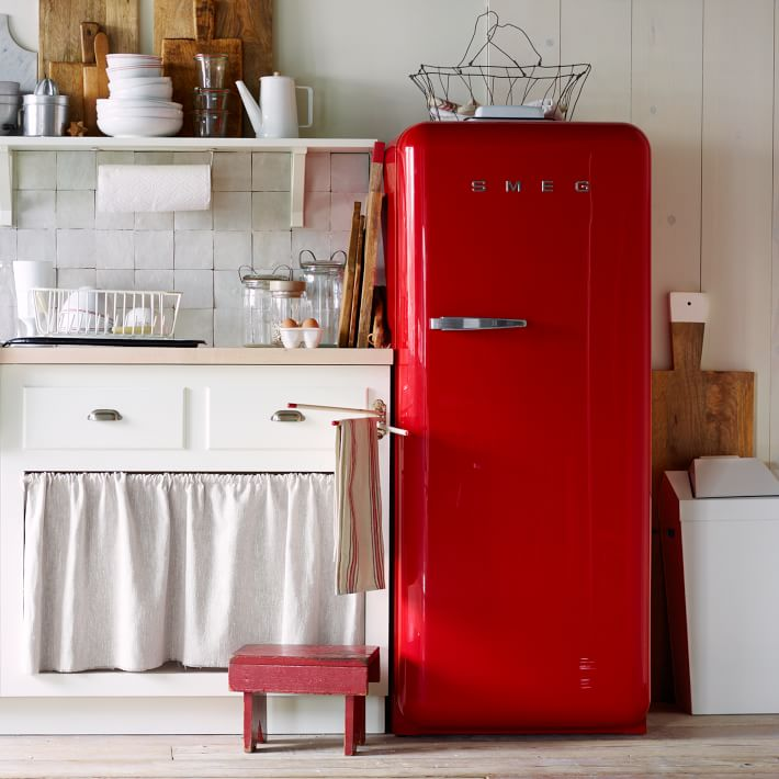 Red vintage look refrigerator from Smeg, image via: West Elm